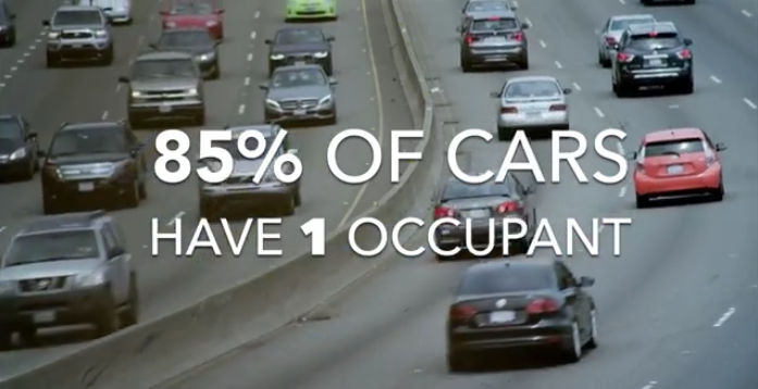 "Image of cars on road. Says ""85% of cars have 1 occupant"""
