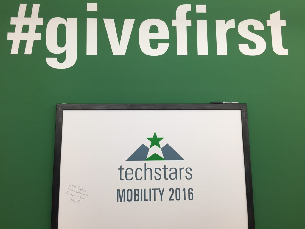 #givefirst sign at Techstars Mobility 2016