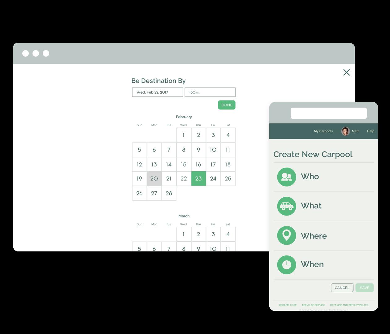 "GoKid's ""create carpool"" screenshots on smartphone and on desktop"