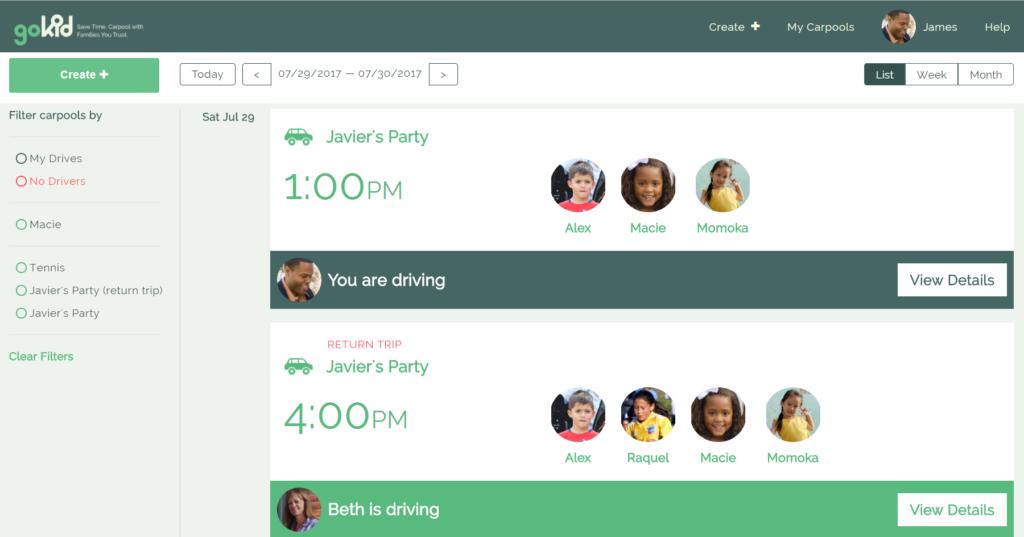 screen capture of GoKid for web - schedule screen