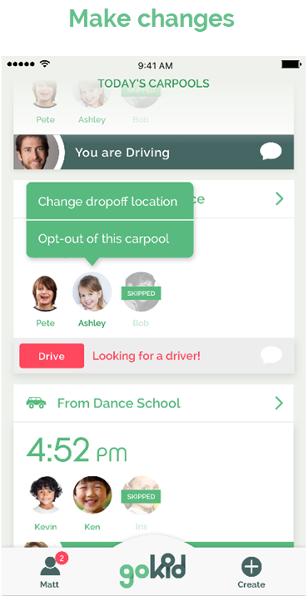 gokid screenshot - carpool edit