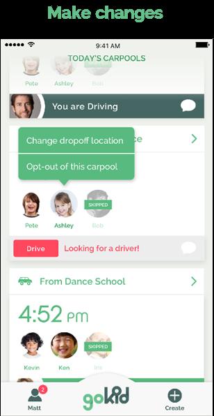 gokid screenshot - carpool edit