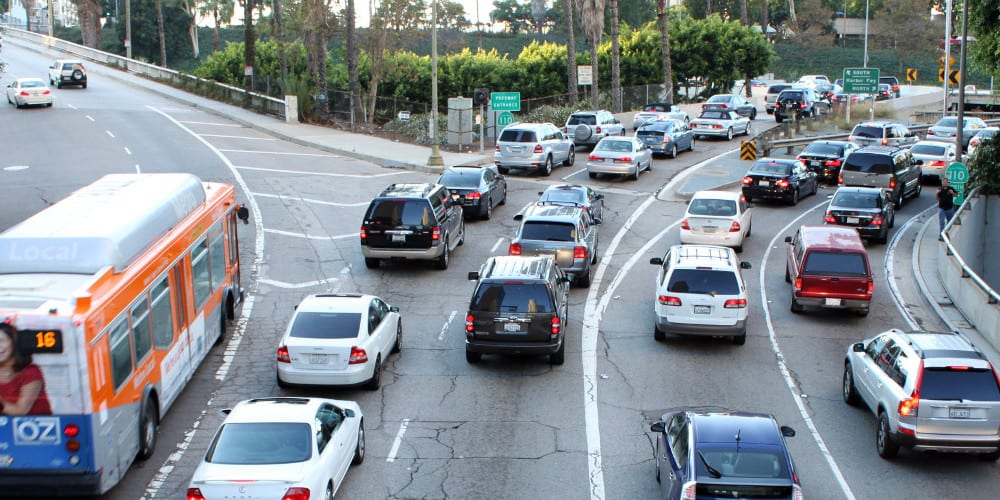 LA traffic jam photo by Flickr user prayitnophotography
